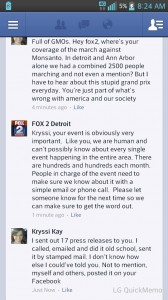 Fox 2 News' responses about their decision not to cover the March Against Monsanto.