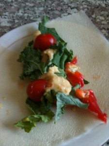 A quick wrap I made using Paleo Wraps with hummus, peppers and more.