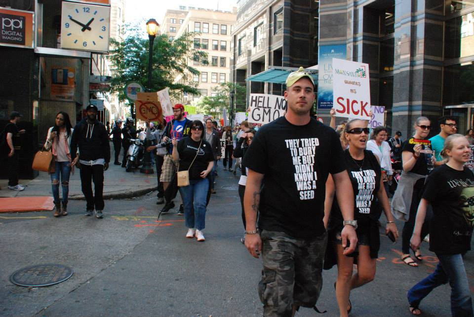 Protesters march for organic and for an end to Monsanto in Philadelphia.