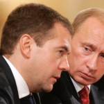 Medvedev (left) has reportedly called for the meeting. Here he is shown with President Vladimir Putin.