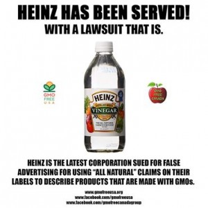 "Heinz's ""all-natural"" vinegar likely contains GMO corn."