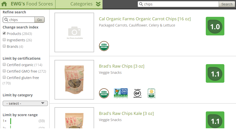 A screenshot showing how to filter results to make sure they're GMO Free.
