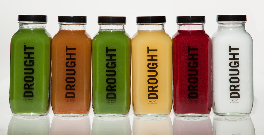 Drought's branding expertise on display: simple, crisp colors and glass bottles.