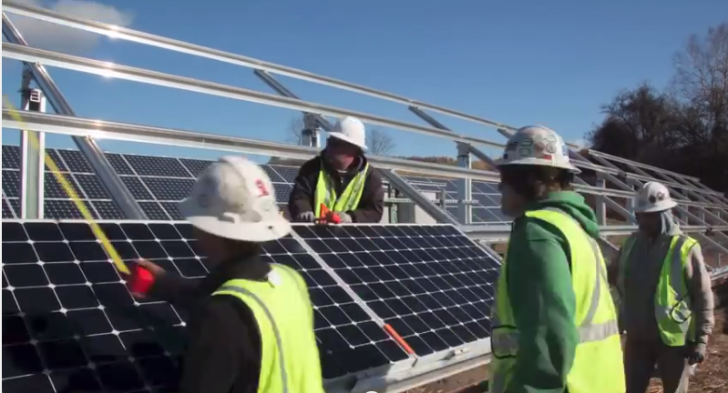 A Vermont-based solar panel project. PHOTO/Screen capture from suncommon's YouTube channel, click the picture to see more .