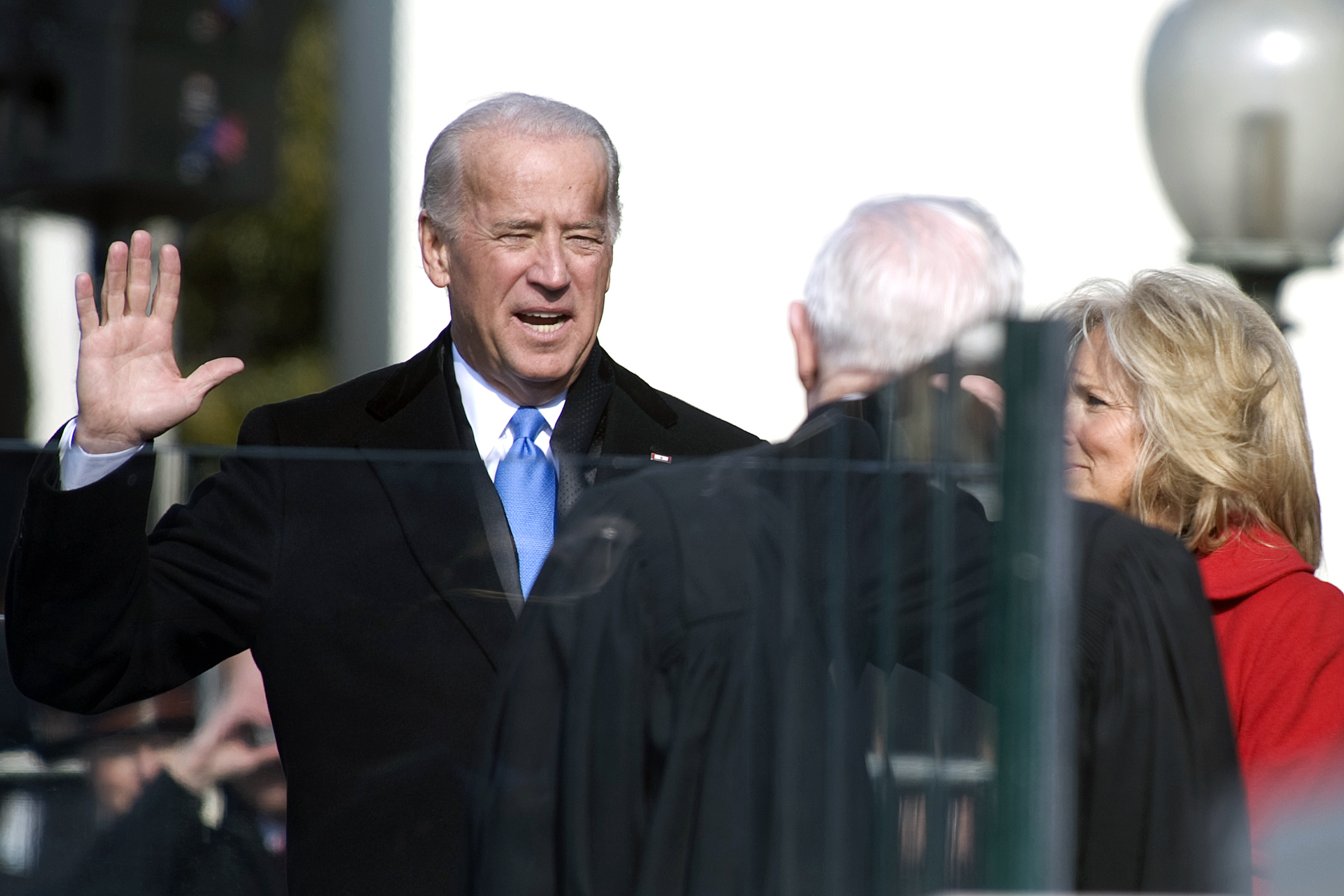 090120-N-0696M-204 Vice President Joe Biden takes the oath of office at the 56th Presidential Inauguration, Washington, D.C., Jan. 20, 2009 (DoD photo by Mass Communication Specialist 1st Class Chad J. McNeeley/Released)