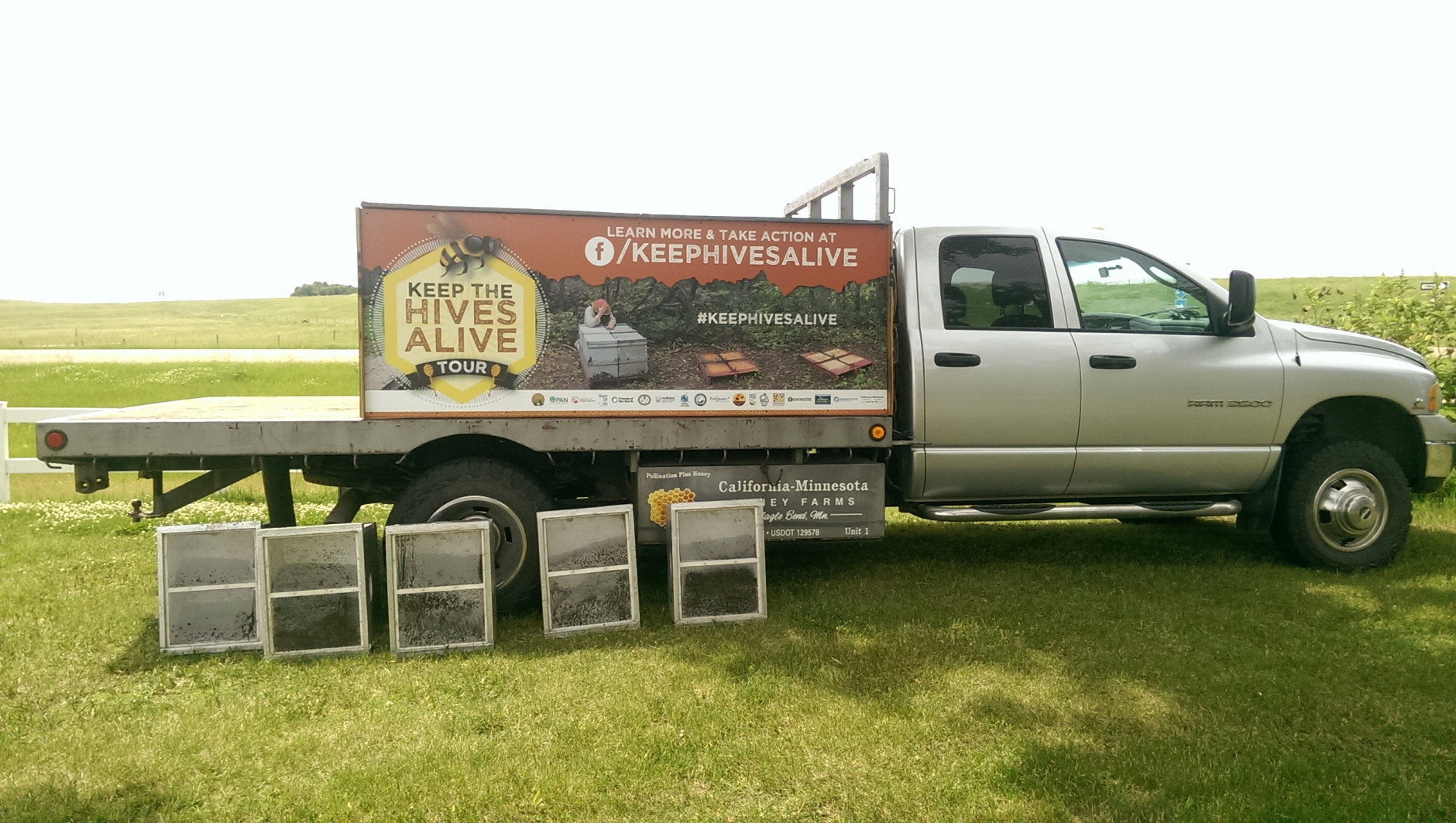 This June 13, 2016 photo provided by Friends of the Earth shows a truck that is carrying more than 2.5 million dead bees in Estelle, S.D. The truck began a tour across the country with a stop in South Dakota Monday, in an effort to raise awareness doubt the collapse of bee colonies and other pollinators in the U.S. (Tiffany Finck-Haynes/Friends of the Earth via AP)
