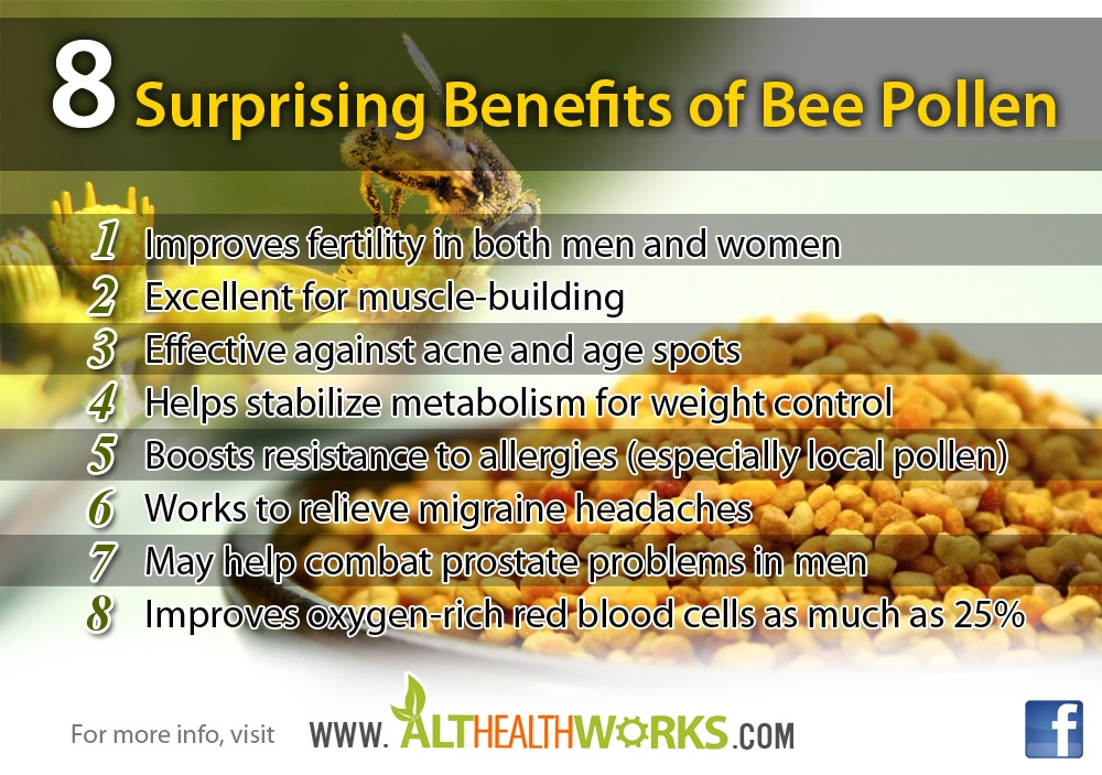 Bee Pollen Benefits include muscle building support.