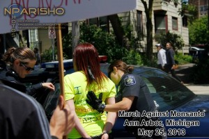 March Against Monsanto Protester Kristen Jones during her arrest.