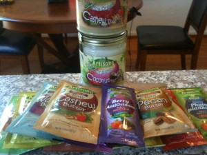 An assortment of Artisana nut butters, coconut oil and other organic products.