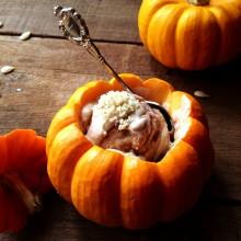 Enjoy the Spoils of Fall (and Thanksgiving) with this Pumpkin Pie Sorbet Recipe (with Hazelnut Silk Sauce)
