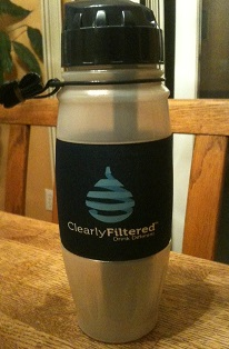 The Clearly Filtered Athlete Edition portable water bottle.