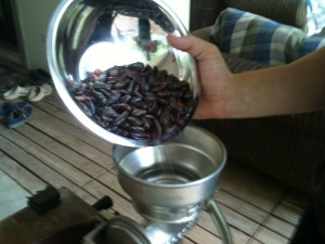 Pouring cacao beans into a traditional grinder (this is a corn/maize grinder like this one that works for cacao as well).