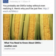 The Weather Channel, Which Has Partnered with Monsanto in the Past, Comes Out in Support of GMOs on Its Website and Facebook Page