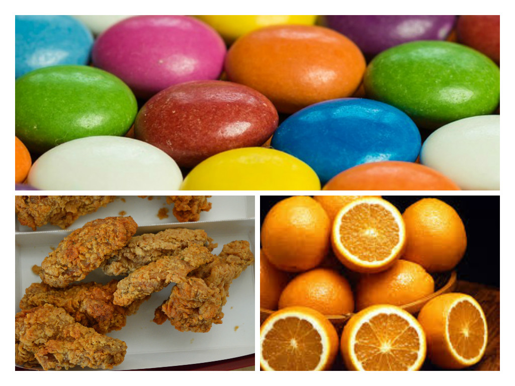 Candies and even oranges and food items with MSG (like fried chicken) are among hyperactivity triggers.