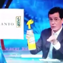 Months Before a Monsanto Lobbyist Boasted About Drinking Roundup, Stephen Colbert Actually Had the Guts to Do It (Sort Of)