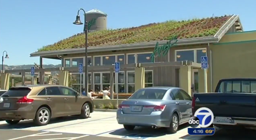 Amy's new organic drive-thru also utilizes produce sustainably grown on its own roof. PHOTO: ABC-7 Bay Area