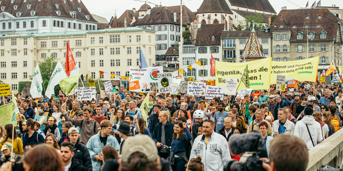 march against bayer in switzerland